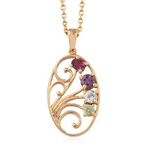 Bolivian Amethyst, Multi Gemstone ION Plated 18K YG Brass Pendant With Stainless Steel Chain (20 in) TGW 0.75 cts.