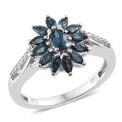 Monte Belo Indicolite, Cambodian Zircon Platinum Over Sterling Silver Ring (Size 8.0) TGW 1.27 cts.