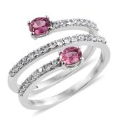 Mahenge Pink Spinel, Cambodian Zircon Platinum Over Sterling Silver Ring (Size 7.0) TGW 1.40 cts.