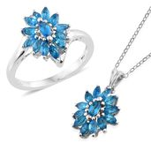 Malgache Neon Apatite Platinum Over Sterling Silver Ring (Size 6) and Pendant With Chain (20 in) TGW 2.08 cts.