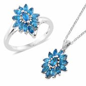 Malgache Neon Apatite Platinum Over Sterling Silver Ring (Size 5) and Pendant With Chain (20 in) TGW 2.08 cts.