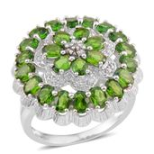 Russian Diopside, White Zircon Sterling Silver Ring (Size 9) TGW 4.820 Cts. TGW 4.82 Cts.
