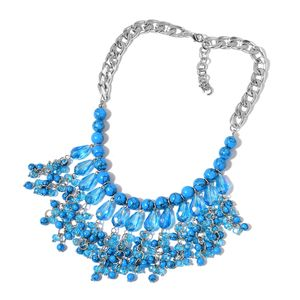 Blue Howlite, Blue Glass Silvertone Necklace (20 in) TGW 400.00 cts.