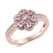 Mahenge Pink Spinel, Cambodian Zircon 14K RG Over Sterling Silver Ring (Size 8.0) TGW 1.06 cts.