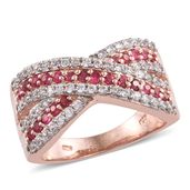 Mahenge Pink Spinel, Cambodian Zircon 14K RG Over Sterling Silver Ring (Size 8.0) TGW 1.84 cts.