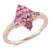 Mahenge Pink Spinel, Diamond Accent 14K RG Over Sterling Silver Ring (Size 7.0) TGW 1.47 cts.