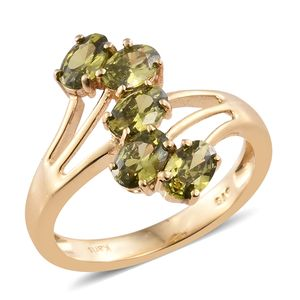 KARIS Collection - Simulated Peridot Diamond ION Plated 18K YG Brass Ring (Size 7.0) TGW 3.40 cts.