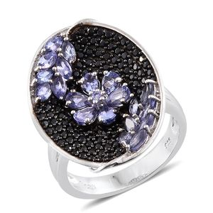Premium AAA Tanzanite, Thai Black Spinel Black Rhodium & Platinum Over Sterling Silver Floral Cluster Ring (Size 7.0) TGW 3.96 cts.