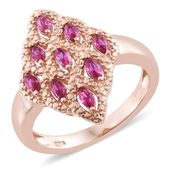 KARIS Collection - Simulated Red Diamond ION Plated 18K RG Brass Ring (Size 5.0) TGW 0.78 cts.