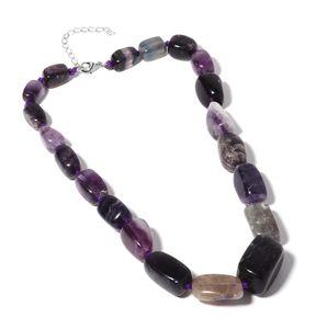 Purple Fluorite Beads Row Silvertone Necklace (18 in) TGW 680.00 cts.