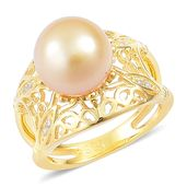 South Sea Golden Pearl (10-10.5 mm), White Zircon 14K YG Over Sterling Silver Ring (Size 10.0) TGW 0.08 cts.