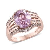 Tony's Collector Show Kunzite, White Topaz 14K RG Over Sterling Silver Ring (Size 6.0) TGW 6.73 cts.