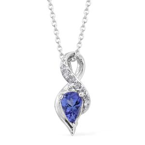 Premium AAA Tanzanite, Cambodian Zircon Platinum Over Sterling Silver Pendant With Chain (20 in) TGW 0.47 cts.