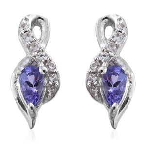 Premium AAA Tanzanite, Cambodian Zircon Platinum Over Sterling Silver Earrings TGW 0.58 cts.