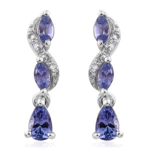 Premium AAA Tanzanite, Cambodian Zircon Platinum Over Sterling Silver Earrings TGW 0.96 cts.
