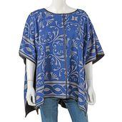 Blue 95% Viscose and 5% Spandex Scoop neckline Kimono (35.44x29.53 in)