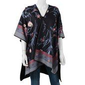 Black and Multi Color Flower Print 95% Viscose and 5% Spandex Scoop neckline Kimono (35.44x29.53 in)