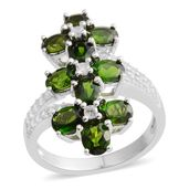 Russian Diopside, White Zircon Sterling Silver Floral Ring (Size 10.0) TGW 5.68 cts.