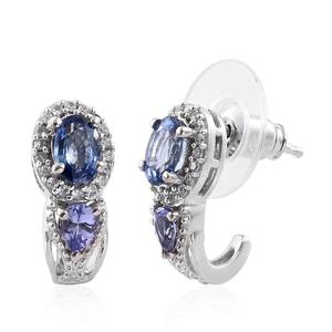 Ceylon Blue Sapphire, Tanzanite, Cambodian Zircon Platinum Over Sterling Silver J-Hoop Earrings TGW 1.84 cts.