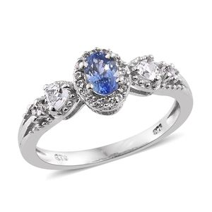 Ceylon Blue Sapphire, White Topaz Ring in Platinum Over Sterling Silver 1.17 ct tw (Size 7.0)