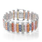 Multi Sapphire Sterling Silver Bracelet (7.50 In) TGW 43.75 cts.