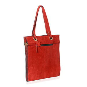 Red Genuine Suede Leather RFID Tote Bag
