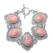 Peruvian Pink Opal Sterling Silver Bracelet (6.50 In) TGW 21.35 cts.