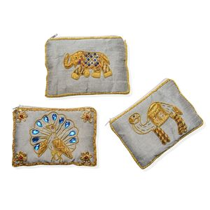 Set of 3 Silver Hand Embroidered Animal Coin Purses (5x3.5 in)