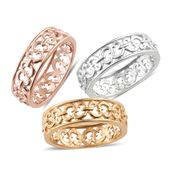 KARIS Collection - Set of 3 ION Plated 18K YRG and Platinum Bond Brass Openwork Band Rings (Size 8)
