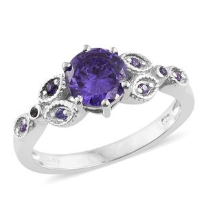 KARIS Collection - Simulated Amethyst Platinum Bond Brass Ring (Size 7.0) TGW 3.36 cts.