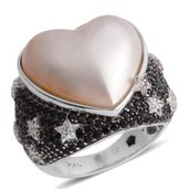 Mabe Pearl - White, Multi Gemstone Black Rhodium Sterling Silver Ring (Size 8) TGW 9.630 Cts. TGW 9.63 Cts.