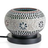 TLV Handcrafted White Floral Design Mosaic Electric Lamp with Himalayan Salt (7 in)