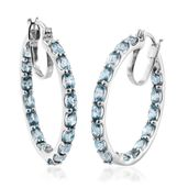 Cambodian Blue Zircon Platinum Over Sterling Silver Hoop Earrings TGW 12.32 cts.