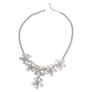 White Glass, Austrian Crystal Silvertone Floral Necklace (22-24 in)