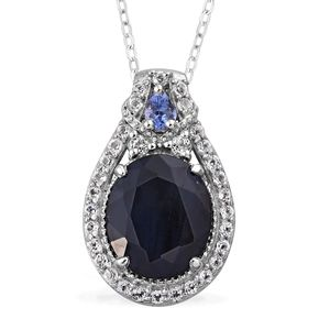 Srikant's Showstopper Kanchanaburi Blue Sapphire, Tanzanite, White Topaz Platinum Over Sterling Silver Pendant With Chain (20 in) TGW 6.88 cts.