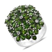 Russian Diopside, White Topaz Platinum Over Sterling Silver Floral Cluster Ring (Size 5.0) TGW 10.98 cts.