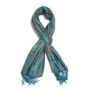 Teal, Multi Color 100% Silk Jacquard Scarf with Handmade Fringes (28x72 in)
