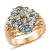 Cambodian Blue Zircon 14K YG Over Sterling Silver Cluster Ring (Size 8.0) TGW 5.90 cts.