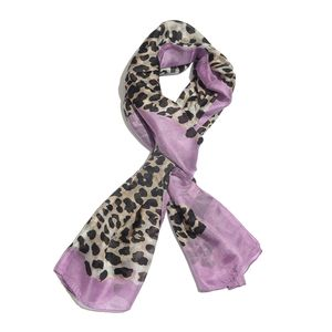 Black and Lilac 100% Silk Hand Screen Printed Scarf (28x72 in)