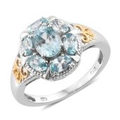 Cambodian Blue Zircon 14K YG and Platinum Over Sterling Silver Ring (Size 6.0) TGW 4.80 cts.