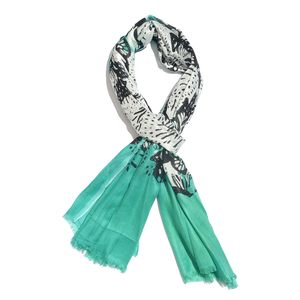 Black Butterfly with Turquoise Border 100% Viscose Scarf (26x72 in)