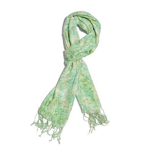 Mint 100% Viscose Splash Art Scarf with Fringes (72x28 in)