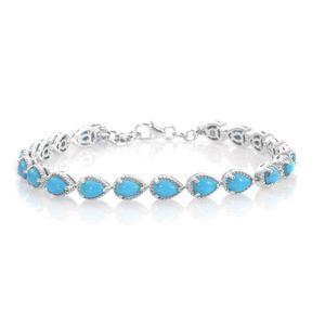 Arizona Sleeping Beauty Turquoise, Tanzanite Platinum Over Sterling Silver Bracelet (7.50 In) TGW 7.60 cts.