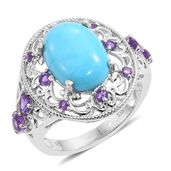 Arizona Sleeping Beauty Turquoise, Amethyst Platinum Over Sterling Silver Ring (Size 9.0) TGW 6.04 cts.