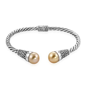 TLV Bali Legacy Collection South Sea Golden Pearl (10.5 mm) Sterling Silver Twisted Cuff (7.50 in)