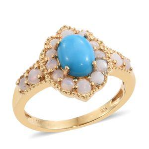 Arizona Sleeping Beauty Turquoise, Australian White Opal 14K YG Over Sterling Silver Ring (Size 7.0) TGW 2.52 cts.