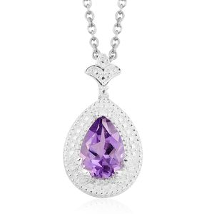Amethyst Sterling Silver Pendant With Stainless Steel Chain (20 in) TGW 1.90 cts.