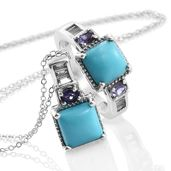 Arizona Sleeping Beauty Turquoise, White Topaz, Catalina Iolite Platinum Over Sterling Silver Ring (Size 7) and Pendant With Chain (20 in) TGW 5.18 cts.