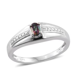 Northern Lights Mystic Topaz Platinum Bond Brass Men's Signet Ring (Size 12.0) TGW 0.50 cts.