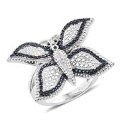 KARIS Collection - Blue Diamond Accent (IR) Black Rhodium and Platinum Bond Brass Butterfly Ring (Size 6.0)